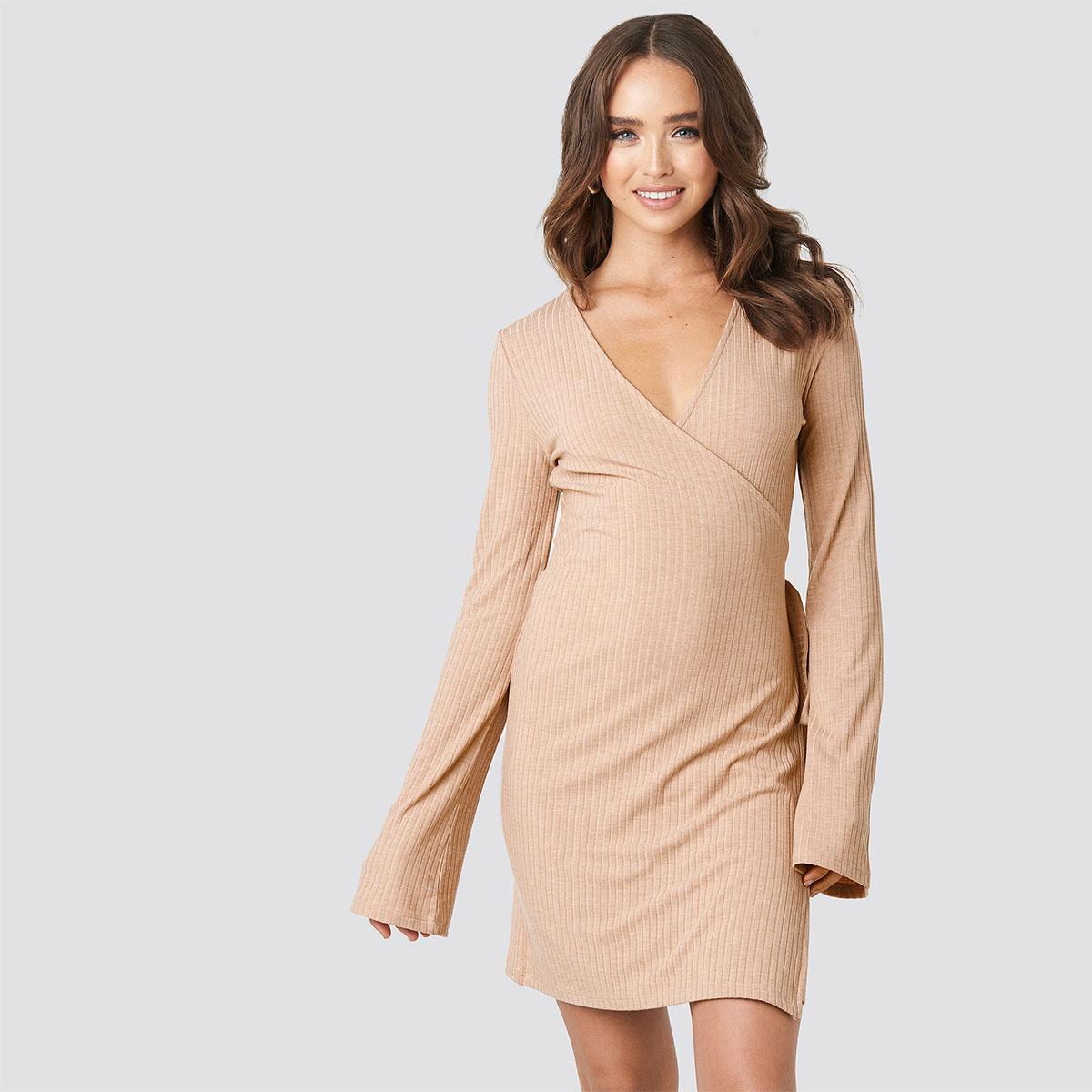 Žebrované růžové zavinovací šaty – XS