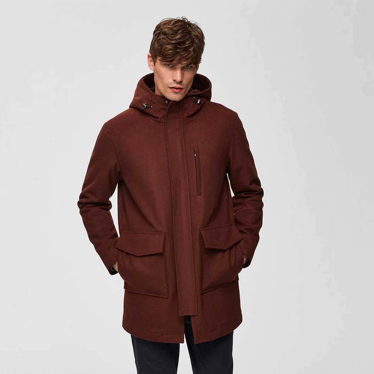 SELECTED HOMME Hnědá parka Wool Jkt – S