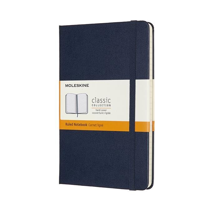 Zápisník tvrdý linkovaný modrý M
