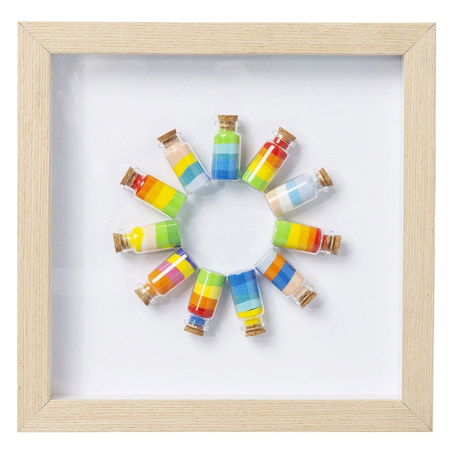 KARE DESIGN Sada 2 ks – Obraz s rámem Rainbow Jars Circle