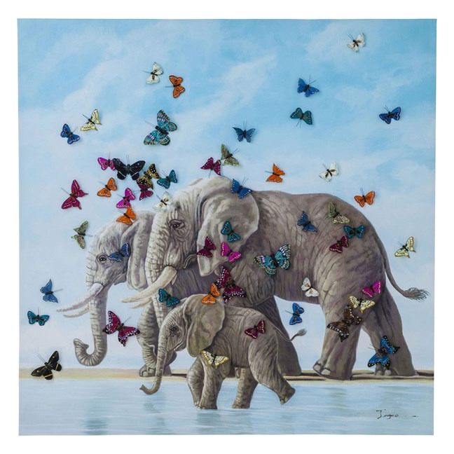 KARE DESIGN Obraz s ručními tahy Elefants with Butterflys 120×120 cm
