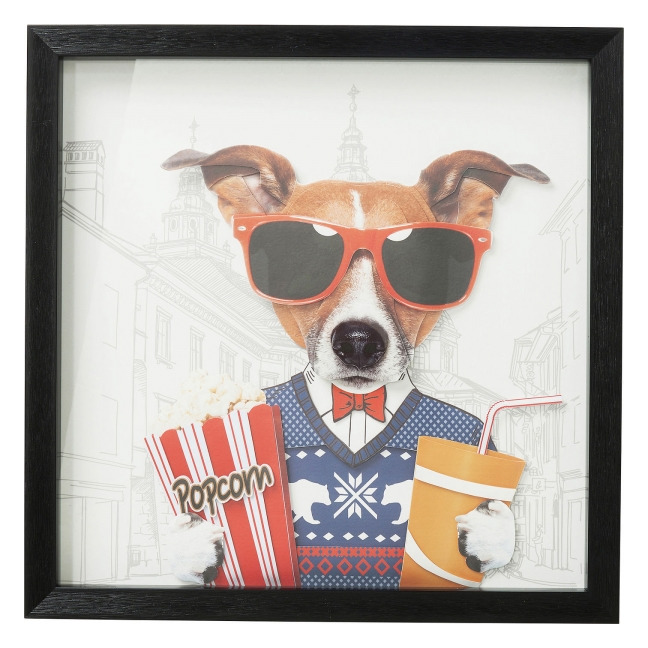 KARE DESIGN Obraz v rámu Art Cinema Dog 50×50 cm