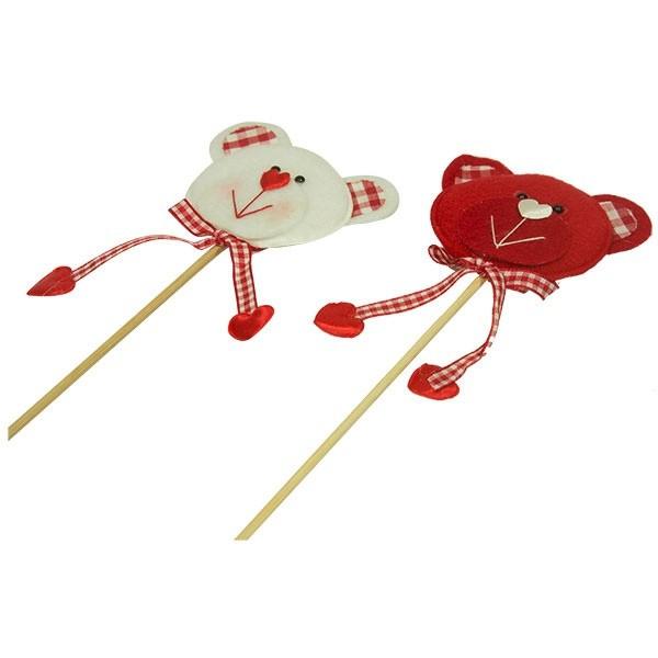 Dekorace na špejli medvídek se srdíčkem - červená