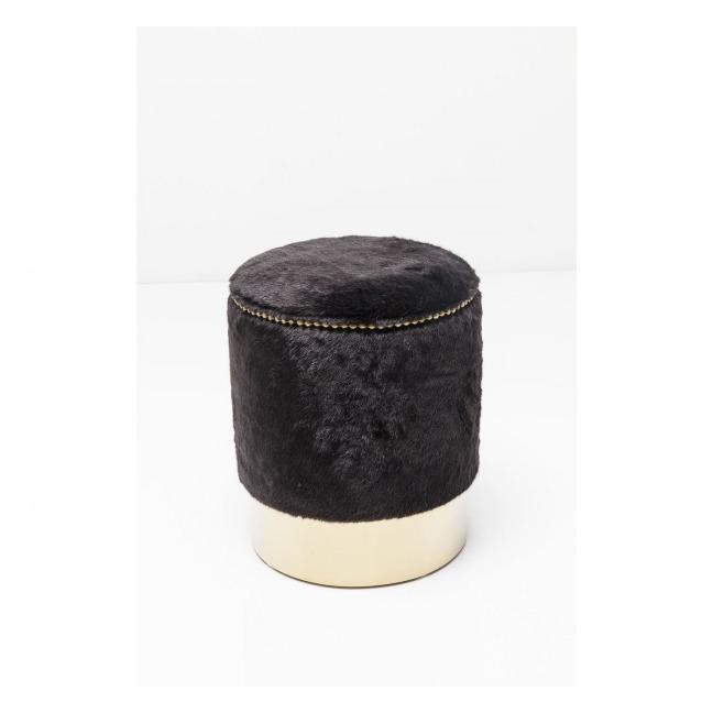 Sada 2 ks – Stolička Cherry Fur Black Ø 35 cm – mosaz