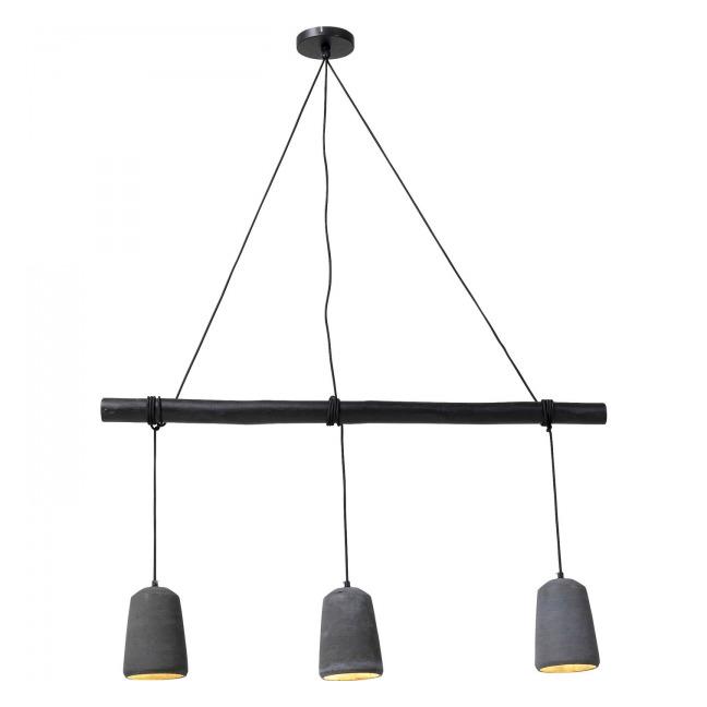 Stropní světlo Dining Concrete – černé, 3 světla