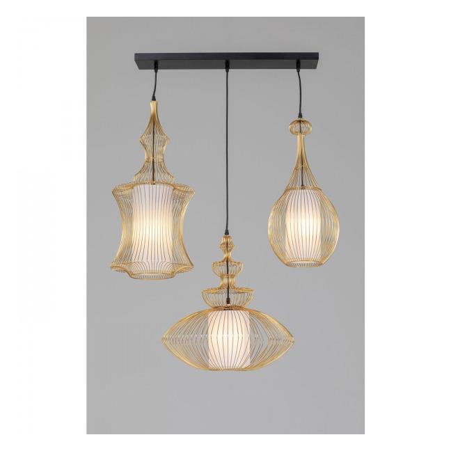 Stropní světlo Swing Iron – zlaté, 3 světla