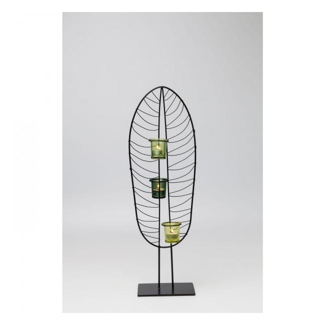 Sada 2 ks – Svícen na čajovou svíčku Leaf Wire 67 cm