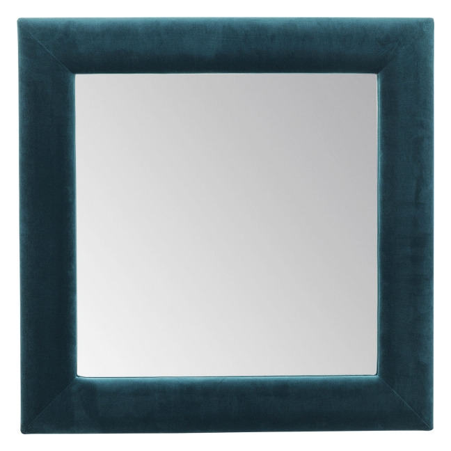 KARE DESIGN Zrcadlo Velvet Bluegreen Square 100×100 cm