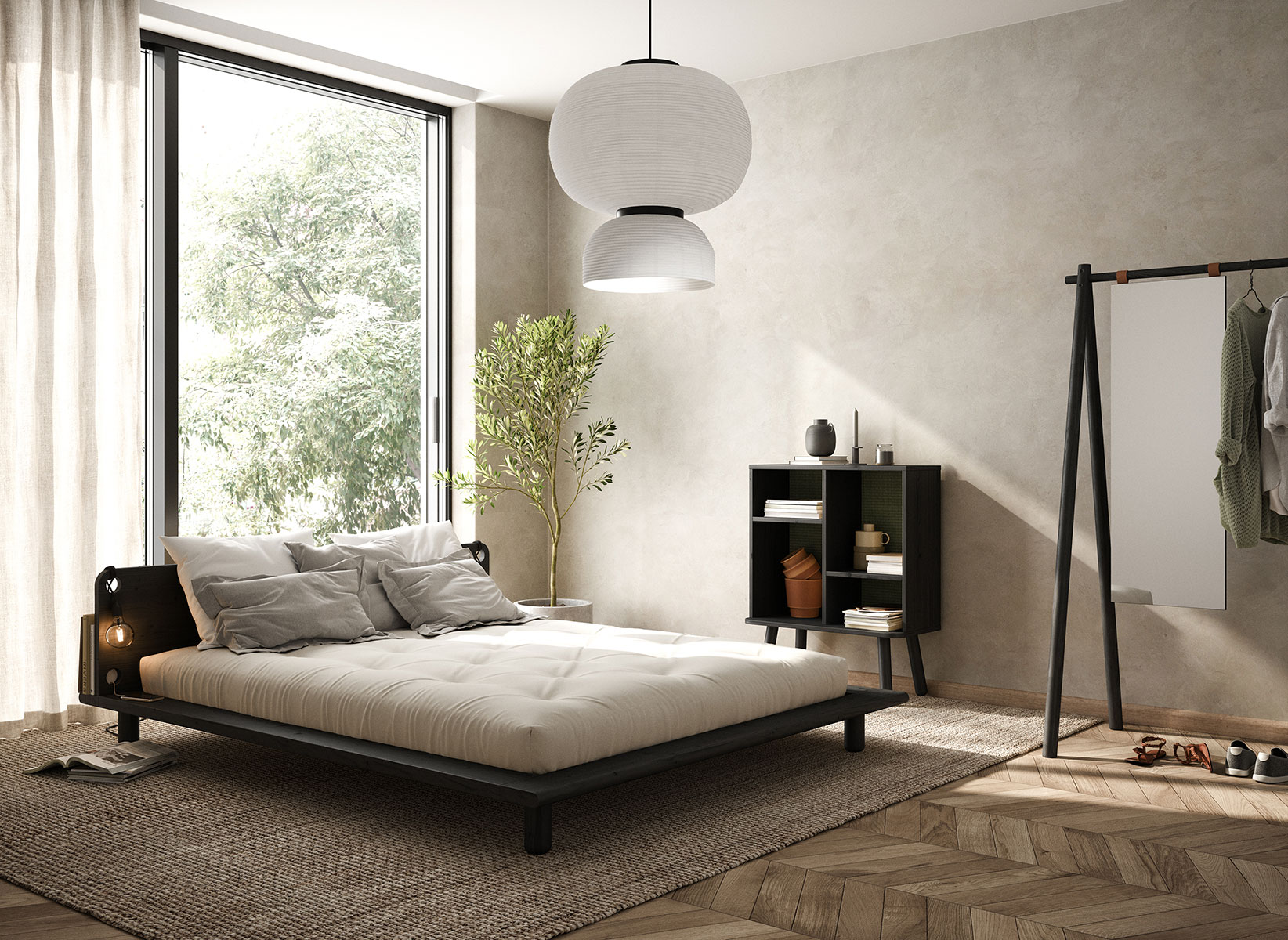 KARUP DESIGN Postel s matrací a nočními lampami Peek 140  Lamps  Double Latex Mat – BlackNatural