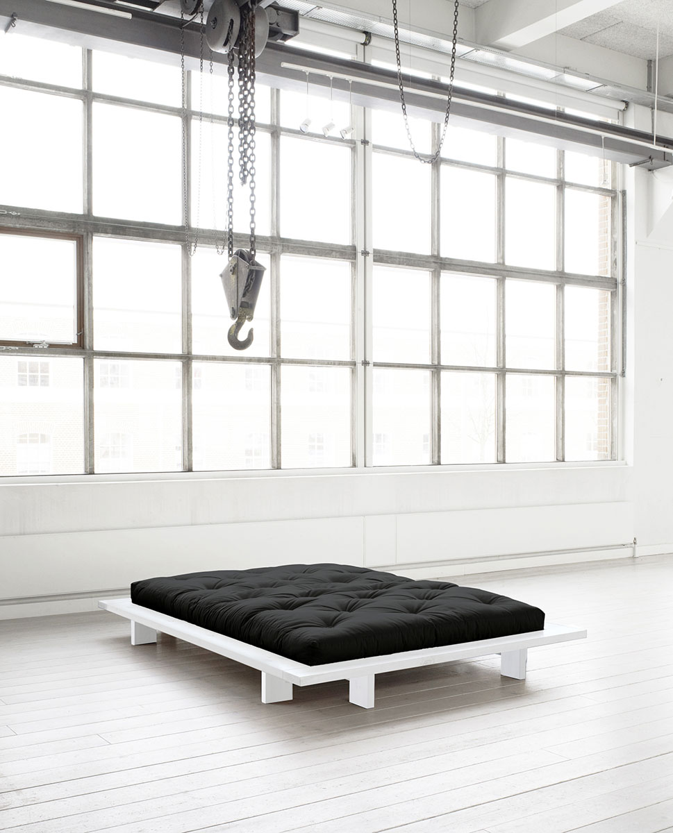 KARUP DESIGN Postel z borovicového dřeva Japan  Double Latex Mat – WhiteBlack