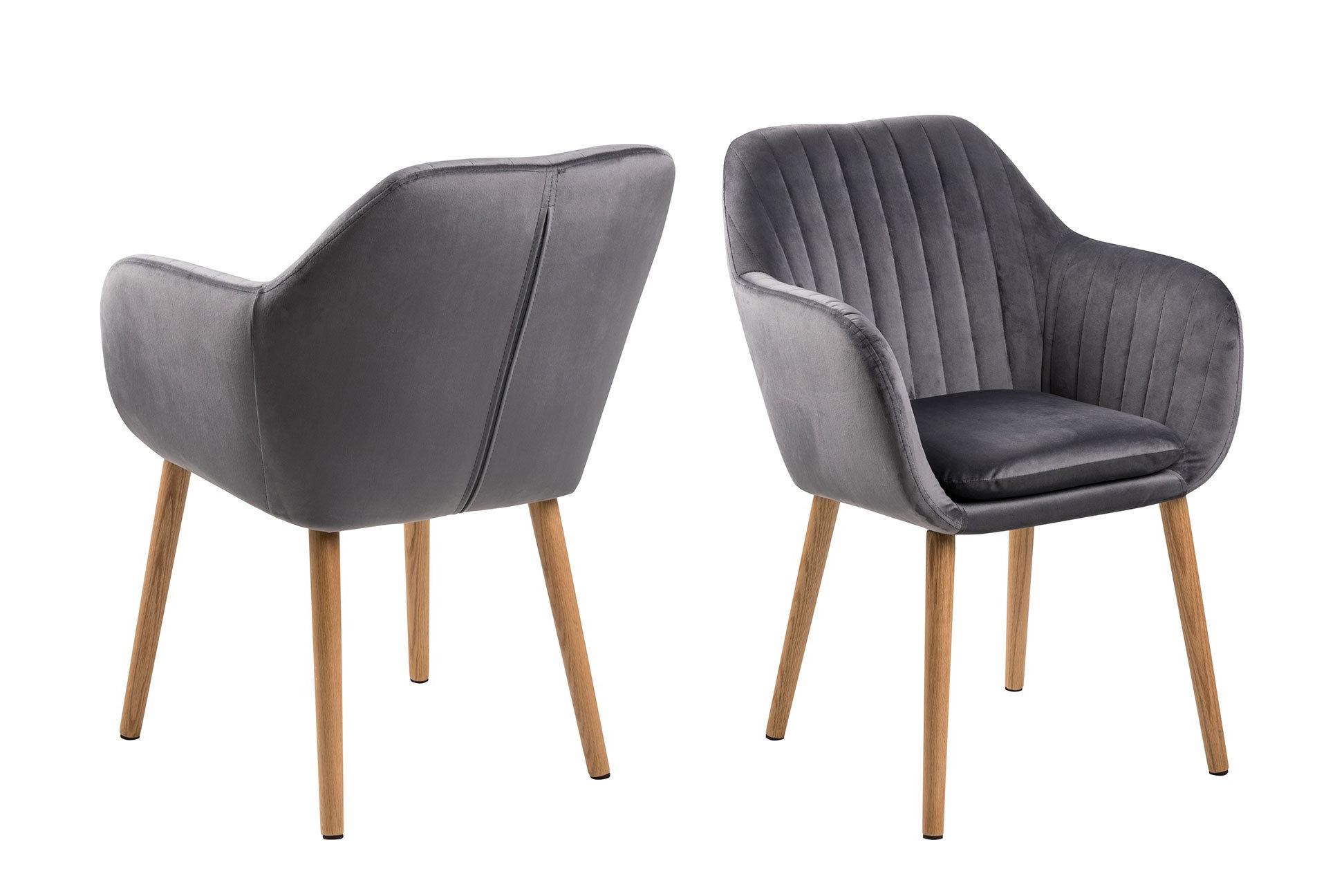 Židle s opěrkou Emilia – šedá