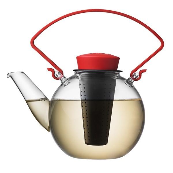 Skleněná čajová konvice Tea for U – červená