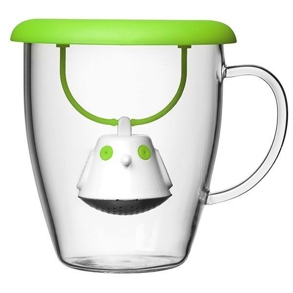 Hrneček s čajovým sítkem - zelený
