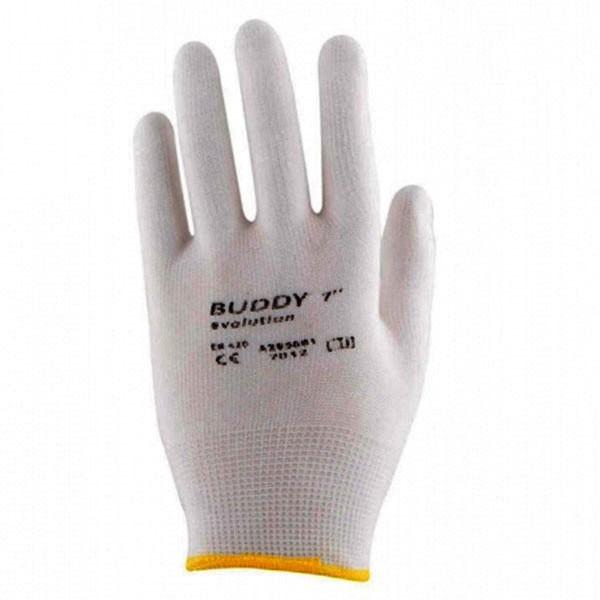Rukavice pracovní BUDDY EVO s protiskluzovými terčíky - bílé